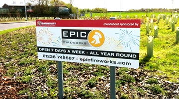 Roundabout advertising sign
